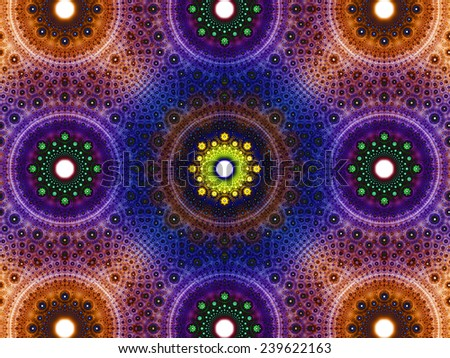 Abstract fractal background with a detailed decorative flower pattern with vortex like infinite decoration in high resolution in dark orange,pink,blue,green,yellow colors against white color - stock photo