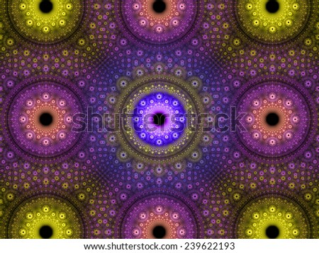 Abstract fractal background with a detailed decorative flower pattern with vortex like infinite decoration in high resolution in pink,purple,yellow colors against black color - stock photo