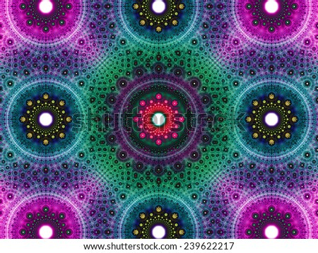 Abstract fractal background with a detailed decorative flower pattern with vortex like infinite decoration in high resolution in dark pink,blue,green,yellow colors against white color - stock photo