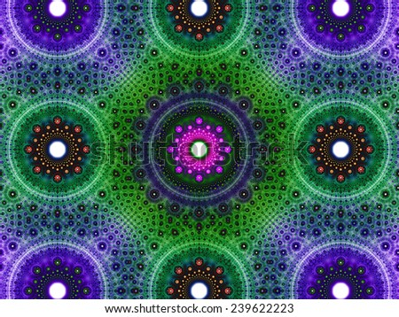 Abstract fractal background with a detailed decorative flower pattern with vortex like infinite decoration in high resolution in dark purple,pink,green colors against white color - stock photo
