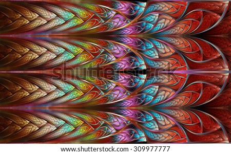 abstract fractal, colorful mosaic decorative background with curved interlacing stripes - stock photo