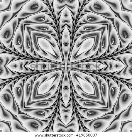 Abstract fractal design. Black and white fractal. Abstract texture. Kaleidoscope effect - stock photo