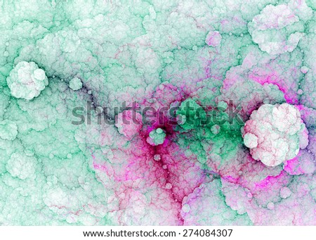 Abstract fractal high resolution background with a detailed lightning pattern creating interconnected discs, all in high resolution and in pastel green-blue and pink colors - stock photo