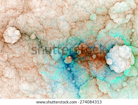 Abstract fractal high resolution background with a detailed lightning pattern creating interconnected discs, all in high resolution and in pastel orange,blue,cyan colors - stock photo