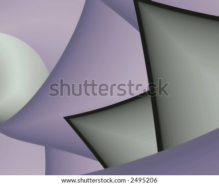 Abstract fractal image of geometric shapes, circles, triangles, squares - stock photo
