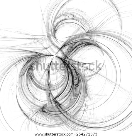Abstract fractal monochrome ring illustration background - stock photo