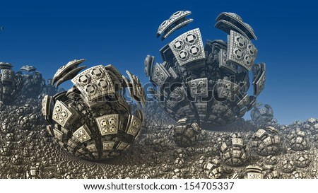 Abstract fractal objects like spheres on a background of blue sky - stock photo