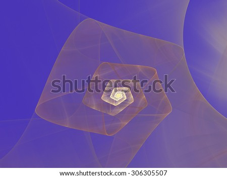 abstract fractal spiral pattern on blue background - stock photo