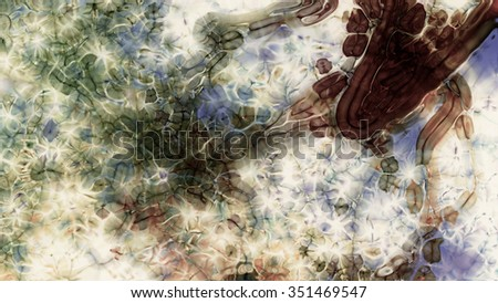Abstract fractal virus micro organisms on a light background. - stock photo
