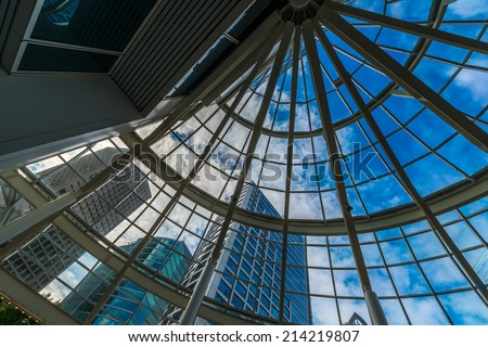 Abstract fragment of the urban architecture of modern luxury building, hotel, shopping mall, business center in Vancouver, Canada. - stock photo