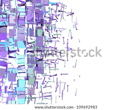 abstract fragmented pattern in purple blue on white - stock photo