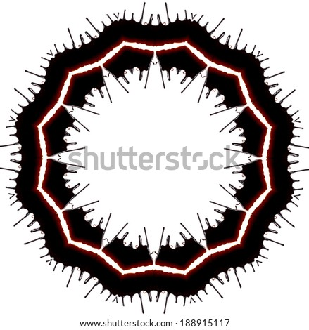 Abstract frame background of chocolate syrup leaking isolated on white  - stock photo
