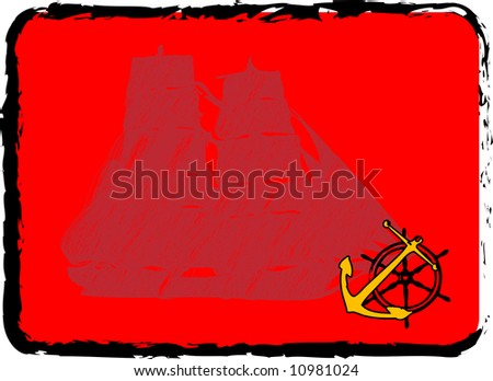 Abstract frame with yellow anchor and vessel steering wheel - stock photo