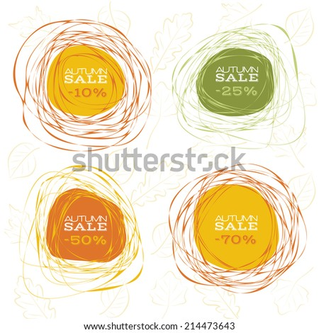 Abstract frames for autumn sale design. Raster version - stock photo