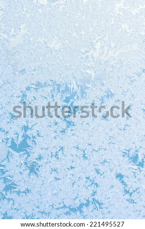 Abstract frosty pattern on glass - stock photo