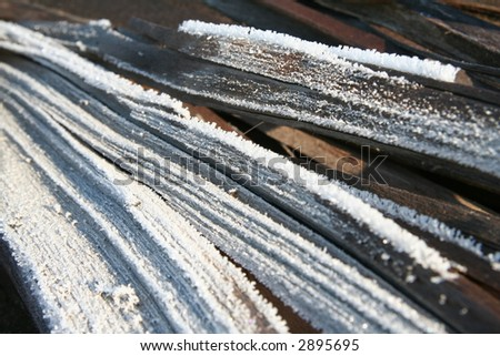 abstract frozen wood - stock photo