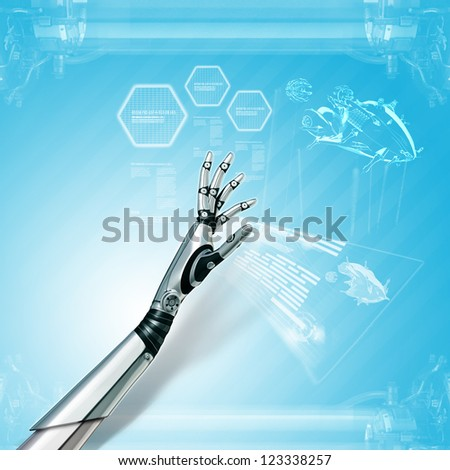 abstract futuristic background sci-fi robot hand working with blueprint on virtual interface - stock photo