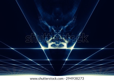 Abstract futuristic background with interesting perspective - stock photo