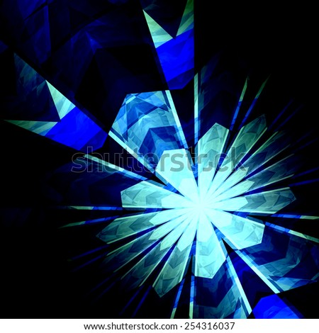 Abstract Futuristic Blue Burst Background - Nuclear Physics - Science Fiction Backgrounds - Nucleus Proton Neutron or Electron Collision - Creative Particle Accelerator Art - Geometric Shapes - - stock photo