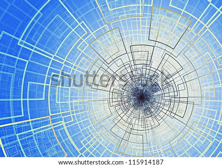 Abstract futuristic circular background - stock photo