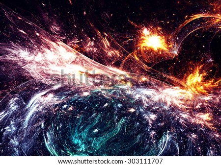 Abstract futuristic color background with lighting effect. Fantasy glowing template for creative design. Beautiful shiny image for wallpaper, poster, cover booklet, flyer. Fractal artwork - stock photo