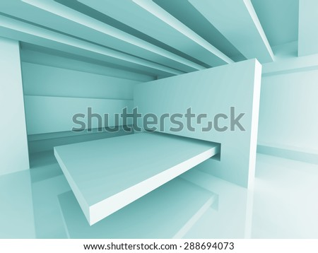 Abstract Futuristic Design Room Interior Background. 3d Render Illustration - stock photo
