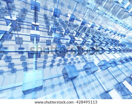 Abstract Futuristic Glass Blue Background. 3d Render Illustration - stock photo