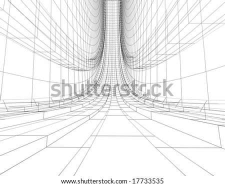 abstract futuristic wireframe construction - stock photo