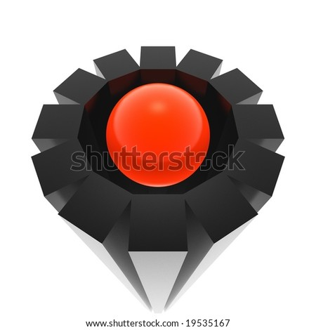abstract gear and sphere (red and black series) - stock photo
