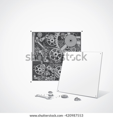 Abstract Gear Mechanism. Repair Background. Ready for Your Text and Design. - stock photo