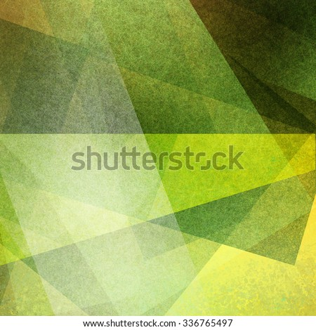 abstract geometric background in greens and yellows, triangle and rectangle shapes layered in random pattern with detailed texture - stock photo