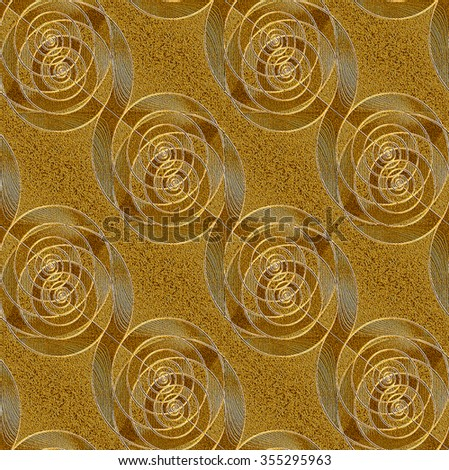 Abstract geometric background, seamless spiral pattern diagonal, relief silver gray and gold, delicate and elegant  - stock photo