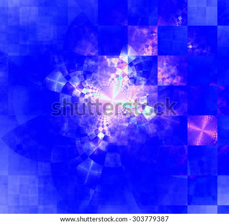 Abstract geometric background with columns and rows of squares and a star-like distorted pattern mixed in to, all in bright vivid blue and pink - stock photo