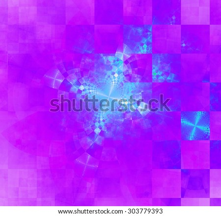 Abstract geometric background with columns and rows of squares and a star-like distorted pattern mixed in to, all in bright vivid pink,purple,blue - stock photo