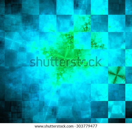 Abstract geometric background with columns and rows of squares and a star-like distorted pattern mixed in to, all in dark vivid glowing cyan,blue,green - stock photo
