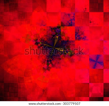 Abstract geometric background with columns and rows of squares and a star-like distorted pattern mixed in to, all in dark vivid glowing red and purple - stock photo