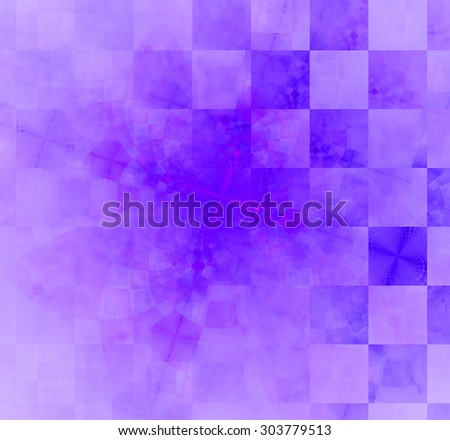 Abstract geometric background with columns and rows of squares and a star-like distorted pattern mixed in to, all in light pastel purple - stock photo