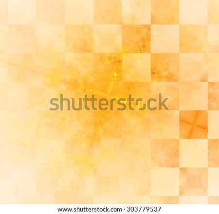 Abstract geometric background with columns and rows of squares and a star-like distorted pattern mixed in to, all in light pastel yellow and orange - stock photo