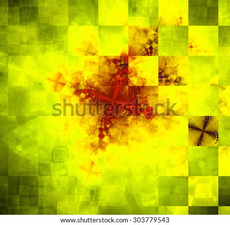 Abstract geometric background with columns and rows of squares and a star-like distorted pattern mixed in to, all in dark vivid glowing yellow,green,red - stock photo