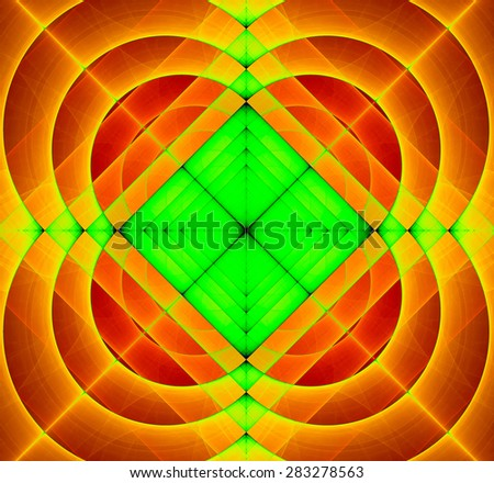 Abstract geometric fractal background with a square star in the center and decorative arches surrounding it, all in vivid yellow,orange,red,green - stock photo