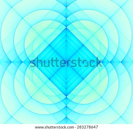 Abstract geometric fractal background with a square star in the center and decorative arches surrounding it, all in light pastel blue - stock photo