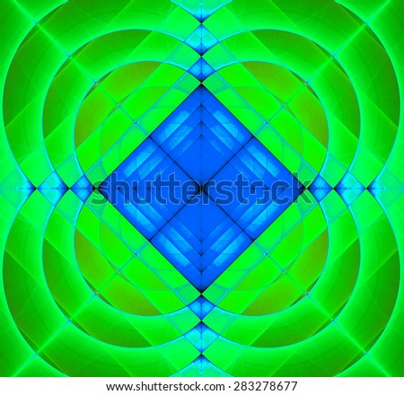 Abstract geometric fractal background with a square star in the center and decorative arches surrounding it, all in vivid green,orange,blue - stock photo