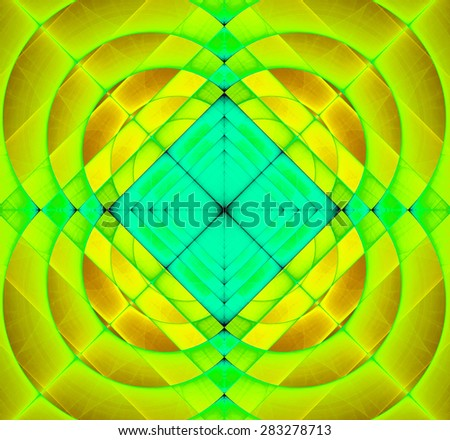 Abstract geometric fractal background with a square star in the center and decorative arches surrounding it, all in vivid yellow,green,cyan - stock photo