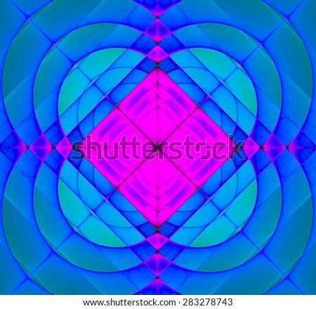 Abstract geometric fractal background with a square star in the center and decorative arches surrounding it, all in vivid blue and pink - stock photo