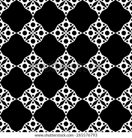 Abstract geometric mosaic seamless pattern in black and white. Monochrome repeating background texture  - stock photo