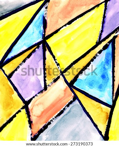 abstract geometric painting mixed technique background - stock photo