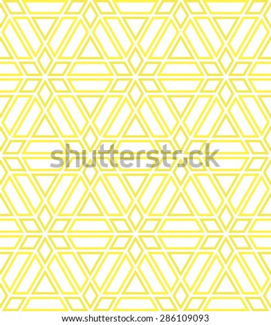 Abstract geometric pattern by lines. A seamless  background. Yellow and white ornament - stock photo