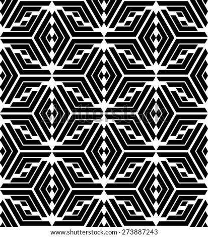 Abstract geometric pattern by rhombuses, strips . A seamless background. Black and white texture. - stock photo