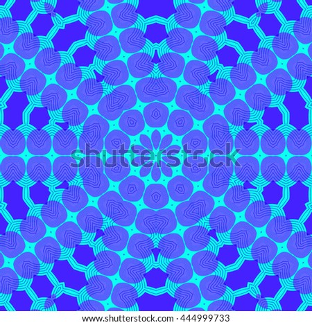 Abstract geometric seamless background. Concentric ornament, star pattern, in purple shades and turquoise. - stock photo