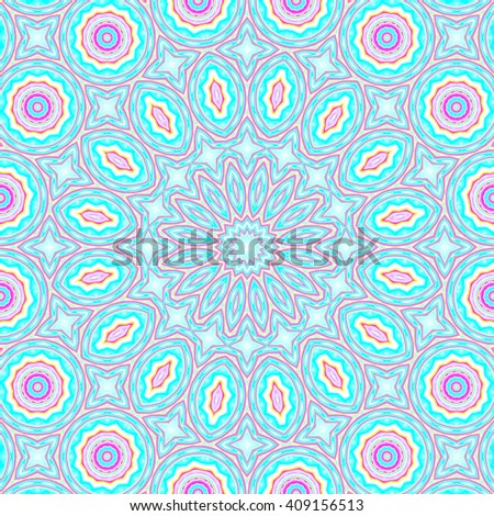 Abstract geometric seamless background. Concentric ornament with ellipses and circles in turquoise and light blue shades with elements in pink and yellow and violet outlines.  - stock photo
